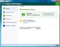 Интерфейс ESET NOD32 Smart Security 5